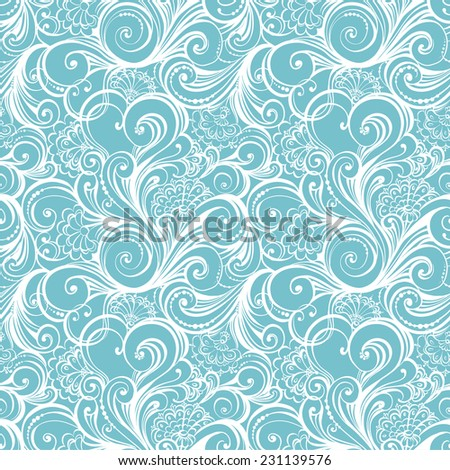 Seamless winter pattern with floral swirls and curls similar to winter frosty window. Winter christmas seamless background. Hand drawn vector illustration. - stock vector