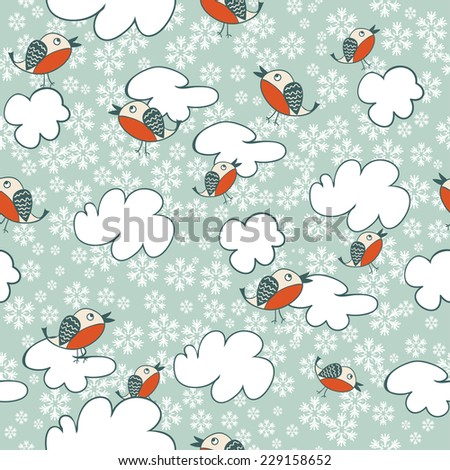 Seamless winter pattern with flying birds