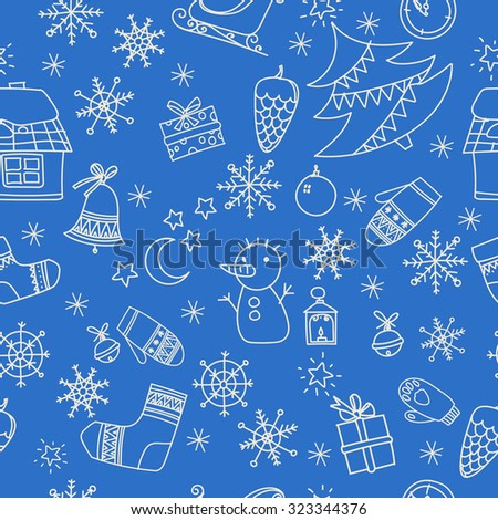 Seamless winter pattern with snowman, house, Christmas bells and snowflakes. Hand-drawn sketch. - stock vector