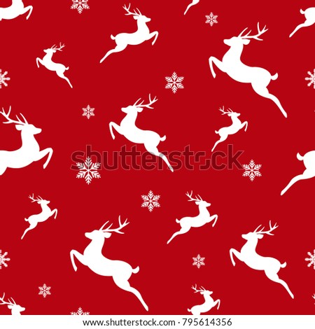 seamless winter pattern with white snowflakes and deers with antlers. vector flat Christmas ornament on red background. winter reindeer texture.