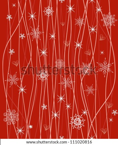 seamless winter pattern with white snowflakes on red background - stock vector