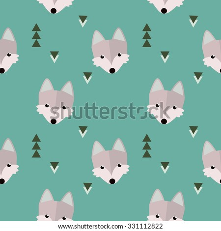 Seamless winter wolf  forest pattern. Animal illustration with trees on blue background in vector - stock vector
