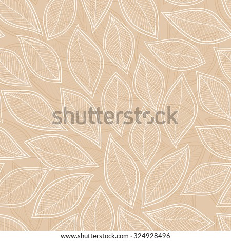 seamless with autumn leaves on brown background. vector illustration - stock vector