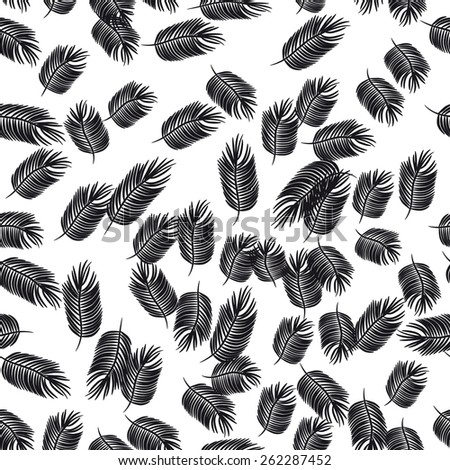 seamless with black feathers  - stock vector