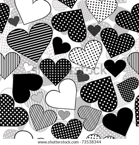 Seamless with black hearts on white background - stock vector