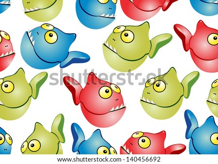 Seamless with fish. Cartoon vector illustration.
