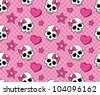Seamless with hearts and skulls. Vector version. - stock photo