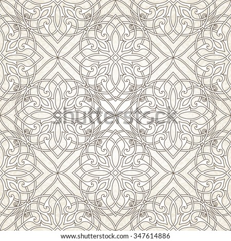 Seamless with oriental motif. Monochrome patchwork background. Pattern with filigree ornaments. Vector illustration. - stock vector