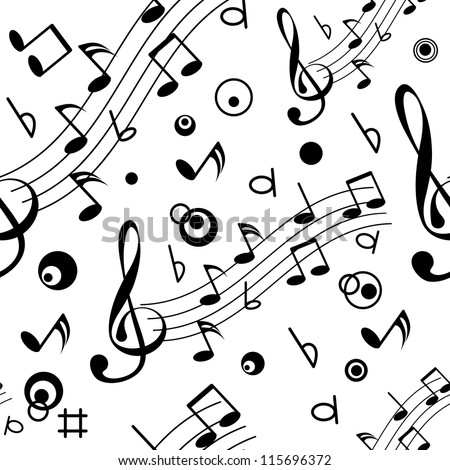 Seamless with some musical notes on light background - stock vector