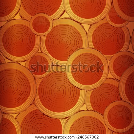 Seamless wood texture.Texture cross section of tree trunk - stock vector