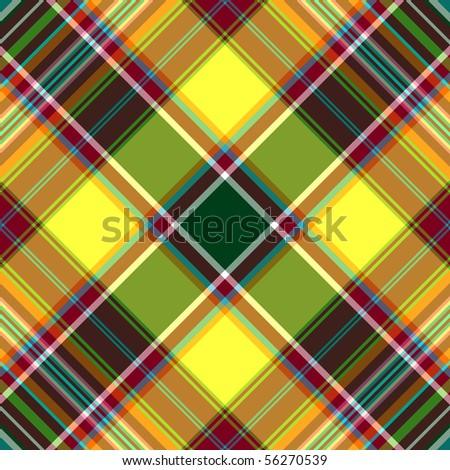 Seamless yellow-green-red checkered diagonal pattern (vector, EPS 10) - stock vector