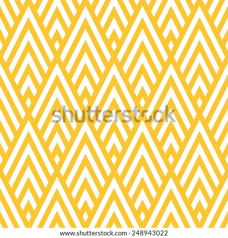 Seamless yellow rhombic chevrons art deco pattern vector - stock vector