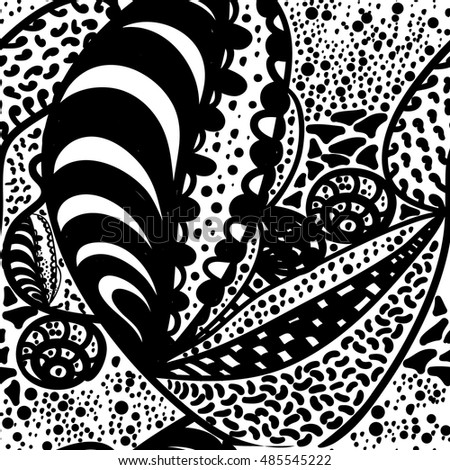 Seamless Zentangle Doodle Wallpaper Design Rough Black And White Vector Background