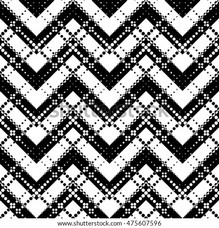 Seamless Zig Zag Pattern. Abstract  Black and White Background. Vector Regular Texture