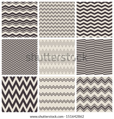 seamless zig zag patterns - stock vector