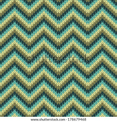 Seamless Zigzag Knitting Pattern Background Vector Stock Vector