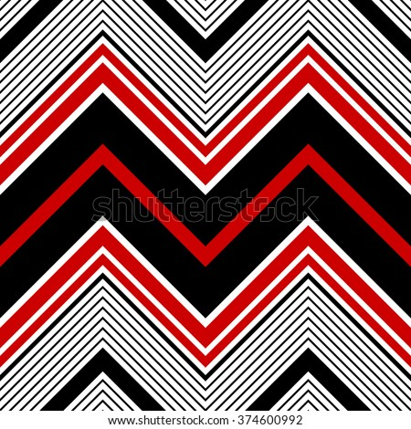 Seamless ZigZag Pattern. Abstract  Black and Red Background. Vector Regular Texture - stock vector