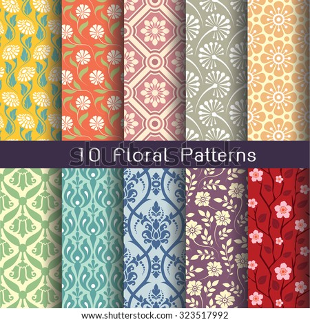 seamlessly floral pattern collection. vintage color style. editable vector file. - stock vector