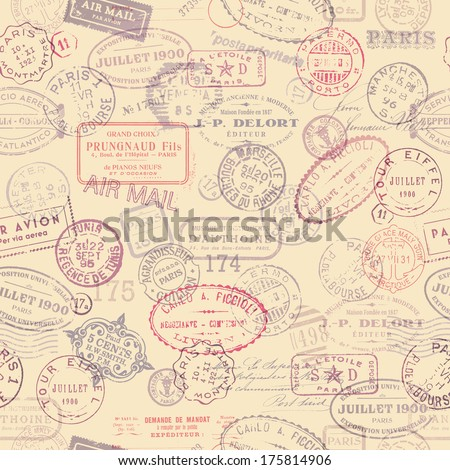 seamlessly tiling postage themed pattern with vintage stamps - stock vector