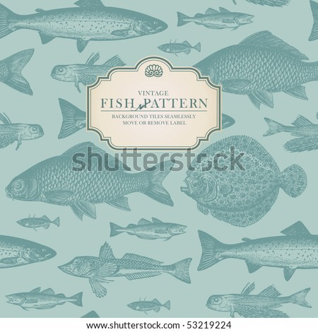 seamlessly tiling retro fish pattern (plus label for usage as card or cover) - stock vector