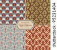 seamlessly tiling retro patterns - set of four designs - stock photo