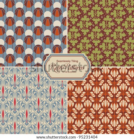 seamlessly tiling retro patterns - set of four designs - stock vector
