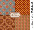 seamlessly tiling retro patterns - set of four designs (tiles saved in the color/patterns palette) - stock
