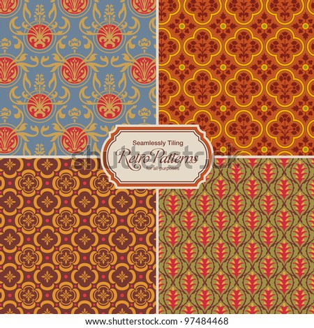 seamlessly tiling retro patterns - set of four designs (tiles saved in the color/patterns palette) - stock vector