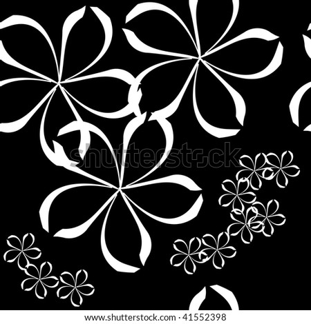Seamlessly vector wallpaper with art white flower