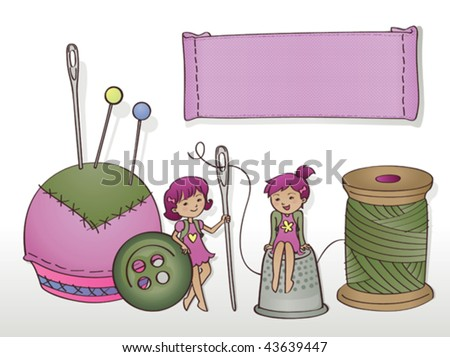 Seamstress little helpers (with banner). Vector illustration of a couple of cute little thumbelinas, helping out at the seamstress shop. They can help to sew buttons and labels. - stock vector