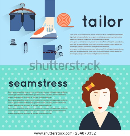 Seamstress workplace. Sewing items and tools. Tailor, fashion designer, needlework, tailoring, custom tailoring. Hand made. Creative workspace. Set of flat illustrations. Horizontal banner. - stock vector
