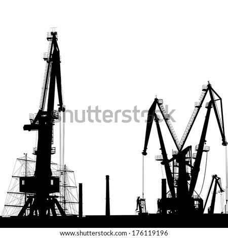 Seaport silhouette of port cranes.  - stock vector