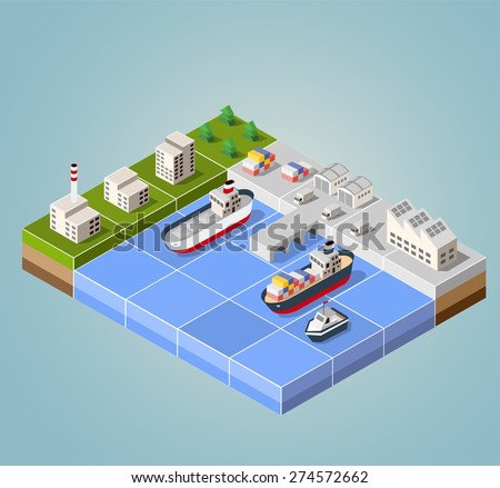 Seaport with the marina. Cargo ships in perspective. Set design for the boats.