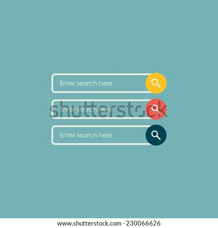Search bars. Flat web design elements. Templates for website - stock vector