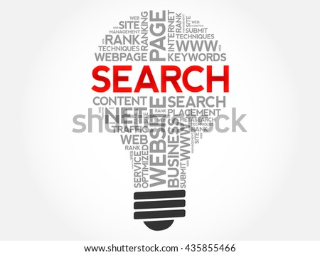 SEARCH bulb word cloud, business concept - stock vector