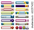 Search buttons and icons for the web - stock vector