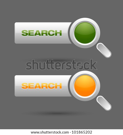 Search buttons isolated on grey background - stock vector