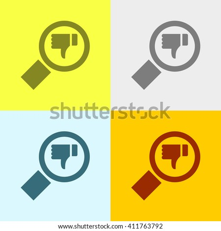 Search & Dislike Icon on Four Different Backgrounds. Eps-10. - stock vector