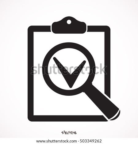 Folder magnifying glass tick checkmark icon search documents icon pictogram icon on gray background vector illustration for web site voltagebd Choice Image