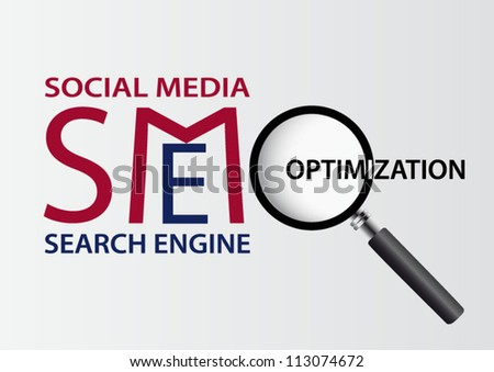 Search engine and social media optimization business concept background - stock vector