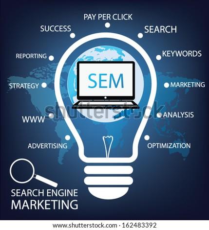 search engine marketing. sem. vector Illustration. - stock vector