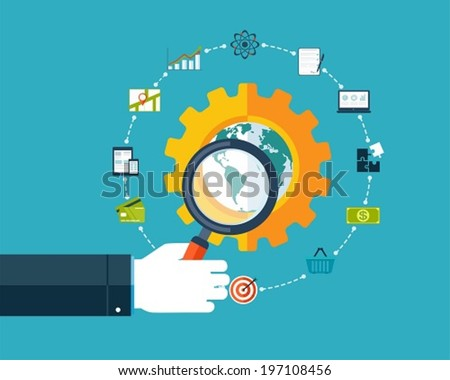 Search engine optimization, hand with magnifier around business icons - stock vector