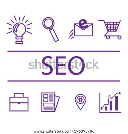 Search engine optimization, internet marketing icons. Vector illustration. - stock vector