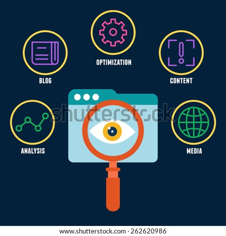 Search engine optimization is the process of affecting the visibility of a website. Symbols with keywords - vector illustration - stock vector
