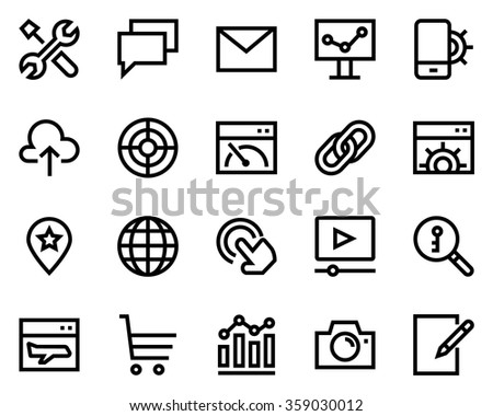 Search engine optimization line icon set. Pixel perfect fully editable vector icon suitable for websites, info graphics and print media. - stock vector