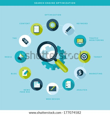 Search engine optimization process. Flat design concept.     - stock vector