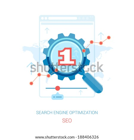 Search engine optimization process vector illustration. Flat design icons concept for seo and sem concept vector illustration. - stock vector