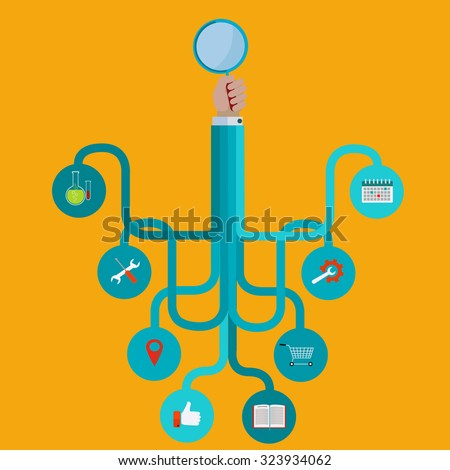 Search engine optimization, search and icons vector concept - stock vector