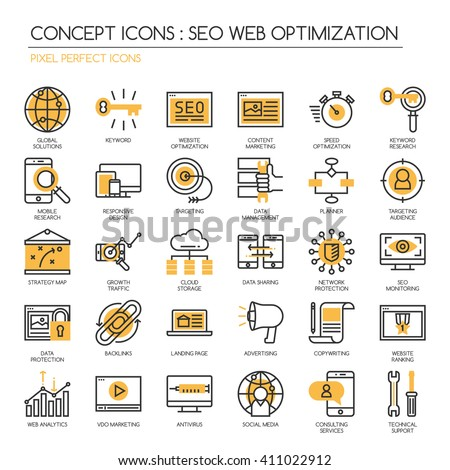 Search engine optimization , Thin Line and Pixel Perfect Icons - stock vector