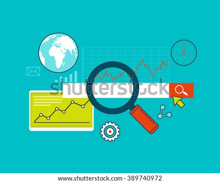 Search engine optimization, web analytics and statistics, web and mobile concept. - stock vector